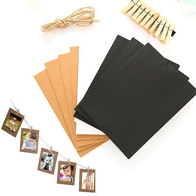 Paper Photo Frame DIY Wall Picture Hanging Album Rope Clip Set Home Decor