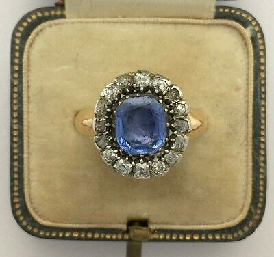 A Magnificent Georgian 3ct Ceylon Sapphire & Old Cut Diamond Cluster Ring 1800s