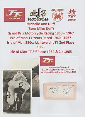 Mike Duff Motorcycle Racer 1960-1967 Iomtt Rare Original Hand Signed Cutting