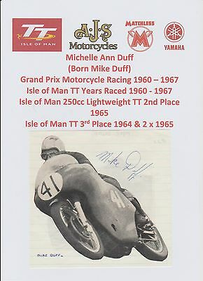 Mike Duff Motorcycle Racer 1960-1967 Iomtt Rare Original Hand Signed Pic/cutting