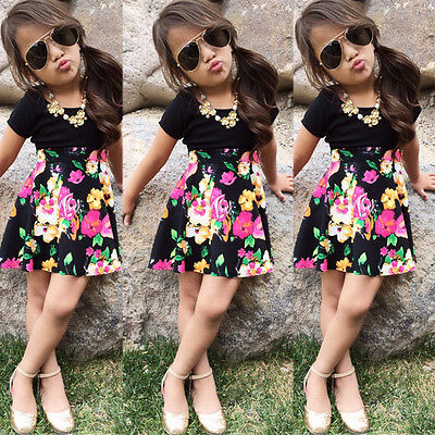 Toddler Baby Girls Top T-Shirt +Floral Dress Skirt Kids Clothes Outfits US Stock