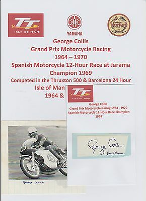 George Collis Motorcycle Racer 1964-1970 Iomtt Rare Original Hand Signed Cutting