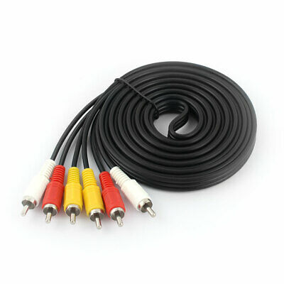 3 RCA Male to Male Audio Video DVD TV AV Adapter Connector Cable 3 Meters Length