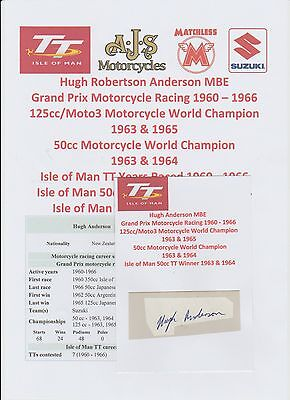 Hugh Anderson Motorcycle Racer 1960-1966 Iomtt Rare Original Hand Signed Cutting