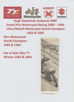 Hugh Anderson Motorcycle Racer 1960-1966 Iomtt Rare Original Hand Signed Picture