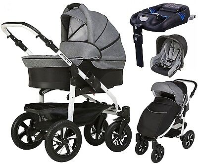 Baby Pram Pushchair Buggy Stroller + Car Seat Travel System 3 in 1 + Isofix Base