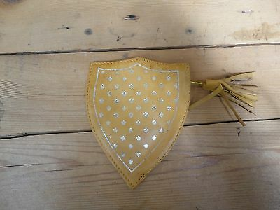 Vintage Small Yellow Leather Shield Shape Purse