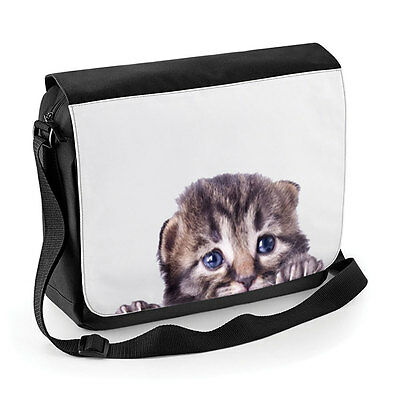 Cute Kitten Peeking Messenger / Reporter Bag Cat Pet School College