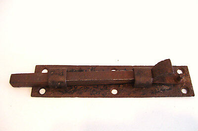 Cast Iron Sliding Bolt Latch Lock 6 inches No Keeper Late 1800s Antique