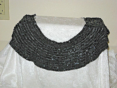 Beautiful True Vintage Estate Black Beaded Sequin Shawl/collar - Very Nice!