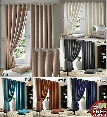 Modern Eyelet Top Curtains Fully Lined Ready Made Ring Top Many Colours
