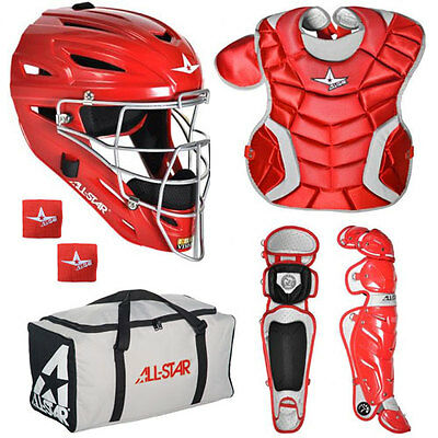 All Star System 7 Youth 9-12 Catcher's Gear Set - Red