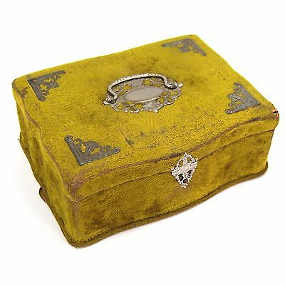 Antique Victorian Olive Green Velvet Jewelry Sewing Box With Silver Details 1900
