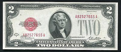 """Fr. 1502 1928-A $2 Red Seal Legal Tender United States Note """"Key Series"""" Au+"""