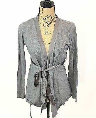 Motherhood Sleepwear Women's Top - Gray Maternity Long Sleeve Tie - Size S