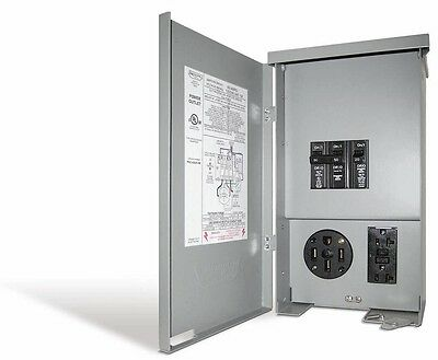 RV Electric Panel Outlet Box 50-Amp Receptacle Breaker GFCI Duplex Compact New