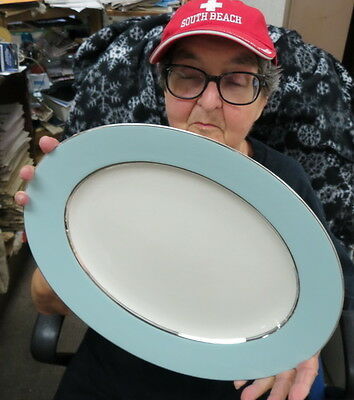 "CASTLETON TURQUOISE oval platter over 15-3/8""  marked & never used platinum band"