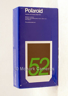 """20 Sheets of Polaroid PolaPan 52 4""""x5"""" B&W Instant Sheet Film. More Sizes Listed"""
