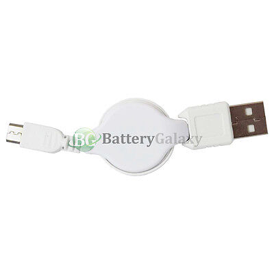 25 Micro USB Retract Battery Charger Data Cable Cord for Android Cell Phone
