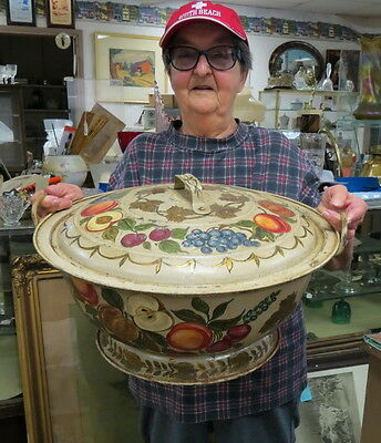 """HUGE & RARE 19"""" hand painted TOLE vented dough bowl & matching lid w/ handles"""