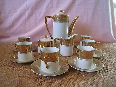 Royal Crown coffee and dematasse Imperial pattern English china set