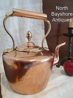 Antique 1800s English Dovetailed Copper Tea Kettle Pot Large Acorn Finial aafa
