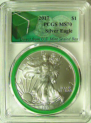 2017 American Silver Eagle $1  PCGS MS 70 GREEN CORE From Mint Sealed Box - RARE