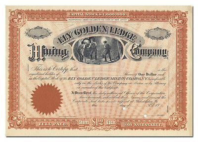 Ely Golden Ledge Mining Company Stock Certificate (New Jersey)