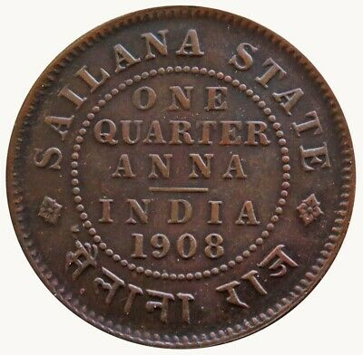 1908 India Sailana State 1/4 Anna King Edward Vii British Colonial Copper Coin