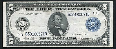 FR. 851a 1914 $5 FIVE DOLLARS FRN FEDERAL RESERVE NOTE NEW YORK, NY XF+