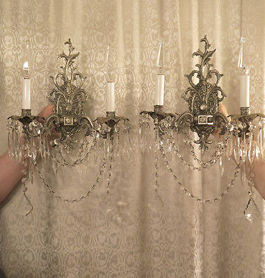 2 Sconces Vintage Bronze Brass SILVER Chrome SPAIN French lamp ROCOCO crystal