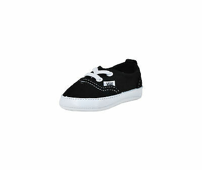 Vans New Born Crib Baby Shoes Booties Era Black Canvas Suede Mix Lace Slip On