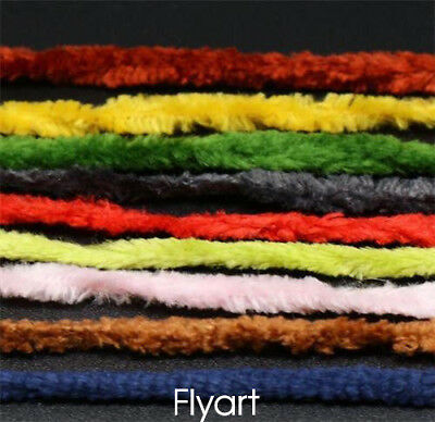 10 Colors Worms Rayon Chenille Yarn/ Tinsel line Fly Fishing Tying Body Material