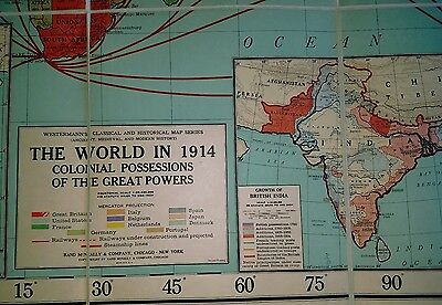 """Antique Rand McNally School Maps  Europe, Medieval Commerce, World 1914 65""""x45"""""""