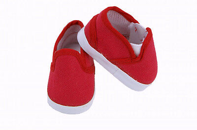 "Red Canvas Slip On Shoes Fits 18"" American Boy or Girl Doll Clothes Shoes"