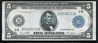 FR. 851a 1914 $5 FIVE DOLLARS FRN FEDERAL RESERVE NOTE NEW YORK, NY ABOUT UNC