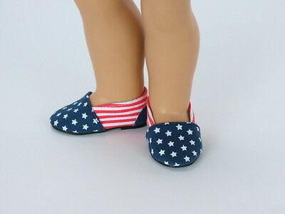 """Red White Blue Canvas Flats Fits 18"""" American Girl Doll Clothes Shoes"""