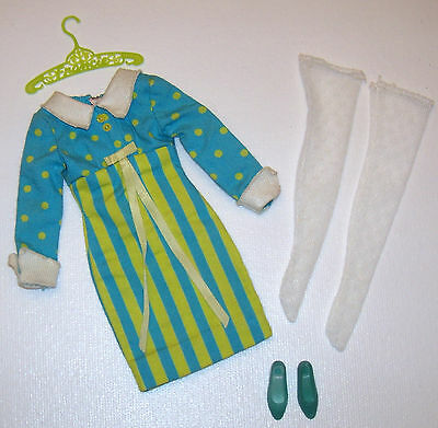 Vintage Francie Doll It's a Date #1251 Complete Mod Outfit 1966 Turq Soft Heels