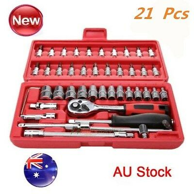 46 pcs spanner socket set 1 4 car repair ratchet wrench screwdriver hand tool oz aud. Black Bedroom Furniture Sets. Home Design Ideas