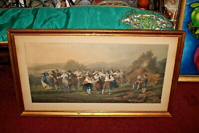 Antique Victorian Color Engraving-Victorian Families Couples Dancing-LARGE