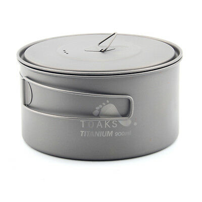 TOAKS POT-900-D130 Titanium Pot with Heat Resistant Handles Camping Soup Pot