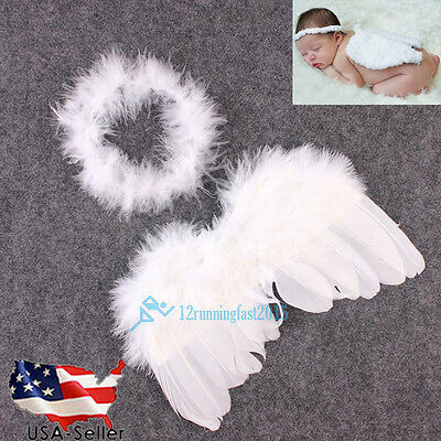 Newborn Baby Girls Angel Wings Costume Photo Photography Prop Lovely Outfits US