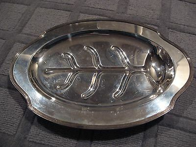 Vintage Oval Sheffield Silver Co Epns Silver Plate Footed Meat Serving Platter