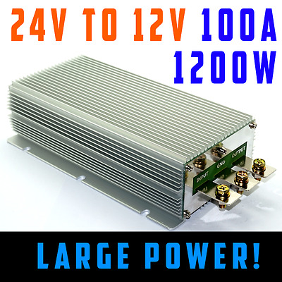 Vehicle DC Voltage Converter Step down 24V to 12V 100A Car Truck Caravan Convert