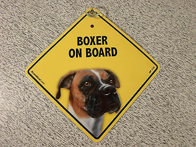 Boxer On Board Dog Window Sign