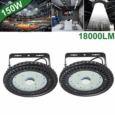2X 150W UFO LED High Bay Light Factory Warehouse Shed Industrial Lighting 6500K