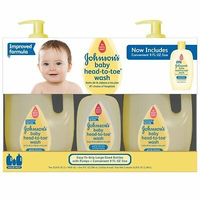 Johnson's Baby Head-to-Toe Wash 2 x  33.8 FL. OZ | 1 x 9 FL. OZ - THREE BOTTLES
