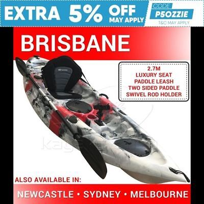 2.7M Fishing Kayak Sit on Top Single Canoe Seat Paddle Brisbane Red Grey New