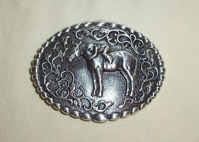 Nocona Buckles Cowgirl Love Horse Friendship Embossed Silver Oval Belt Buckle