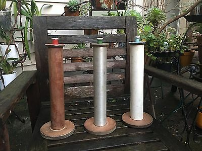 Extra Large Vintage Wooden Thread Spools, Antique Bobbins Spindles Cones